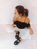 black textured fabric upper sandals *pre-order*