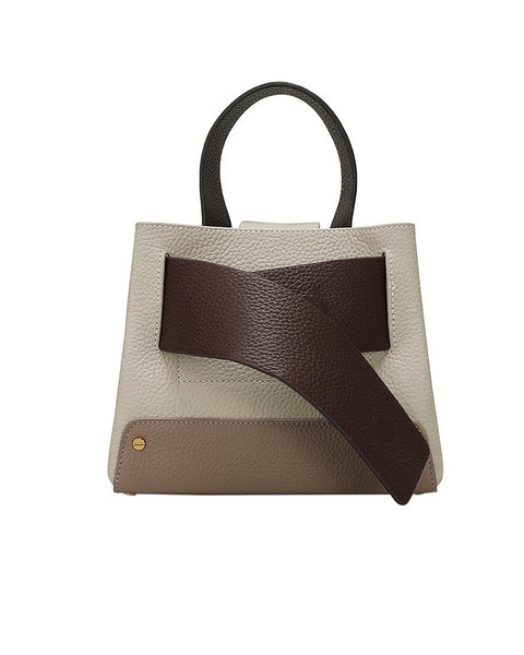 beige with brown leather contrast handle bag with strap *pre-order*