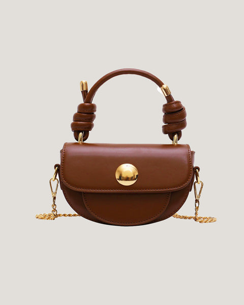 brown PU leather small handle bag with chain strap *pre-order*