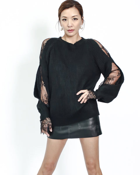 black knitted with lace insert top *pre-order*