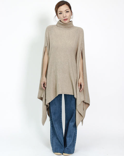 beige turtle neck asymmetric hem knitted cape *pre-order*