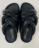 black PU leather weave sandals *pre-order*