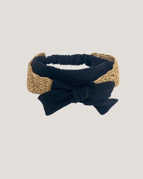 beige straw with black fabric bow front headband