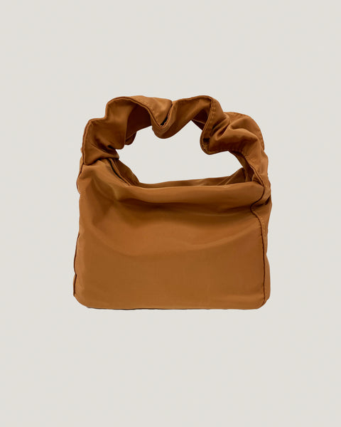camel nylon ruched handle bag *pre-order*