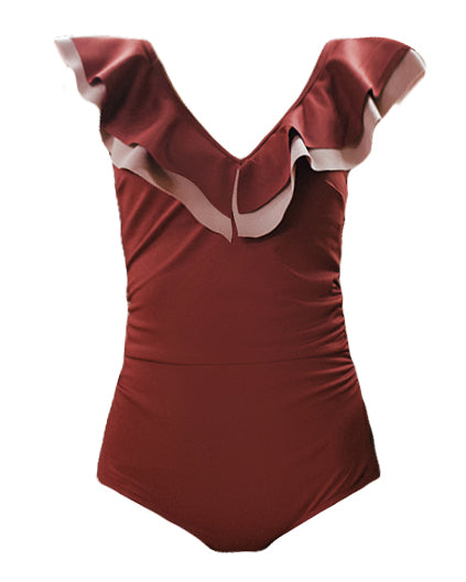 Burgundy ruffles one piece swimwear *pre-order*