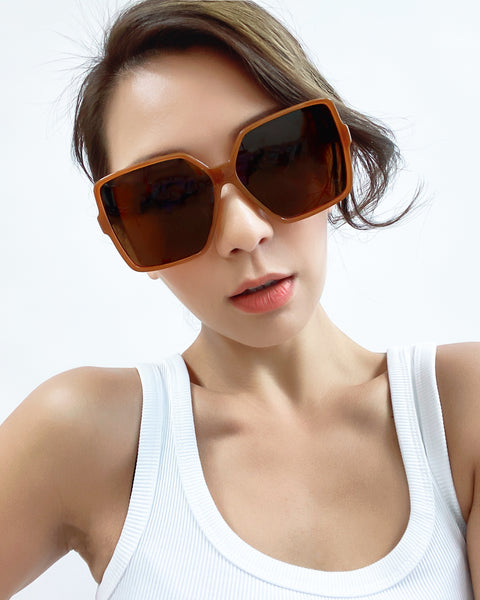 caramel square with brown tint lens sunglasses *pre-order*