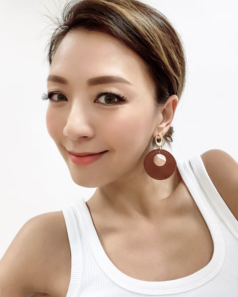 brown PU leather round earrings