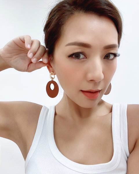 brown PU leather round earrings *pre-order*