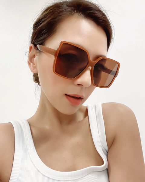 caramel square with brown tint lens sunglasses