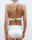 ivory stripes ruffles halter neck top & mid-rise bottom swimsuit *pre-order*