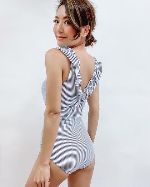 blue stripes ruffles one piece swimsuit *pre-order*