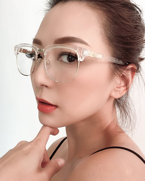 GOLD RECTANGLE WITH CLEAR LENSE GLASSES