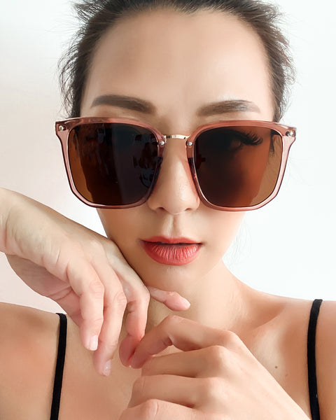 brown square tinted lense sunglasses