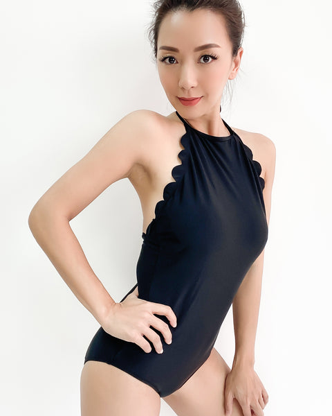 black scallop halter neck one piece swimsuit *pre-order*