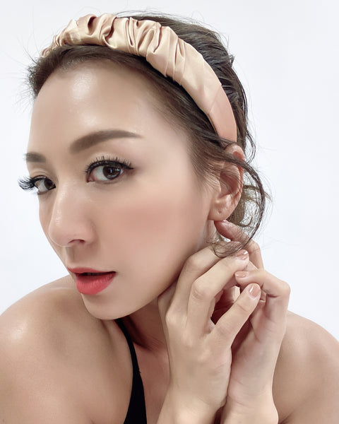 gold beige ruched satin headband *pre-order*