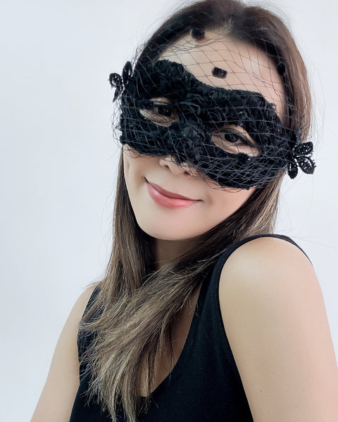 black net polka dots layer eye mask
