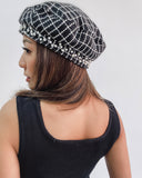 black tweed & pearls beret