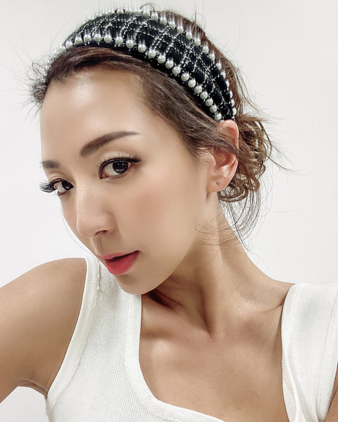 black tweed & pearls headband *pre-order*