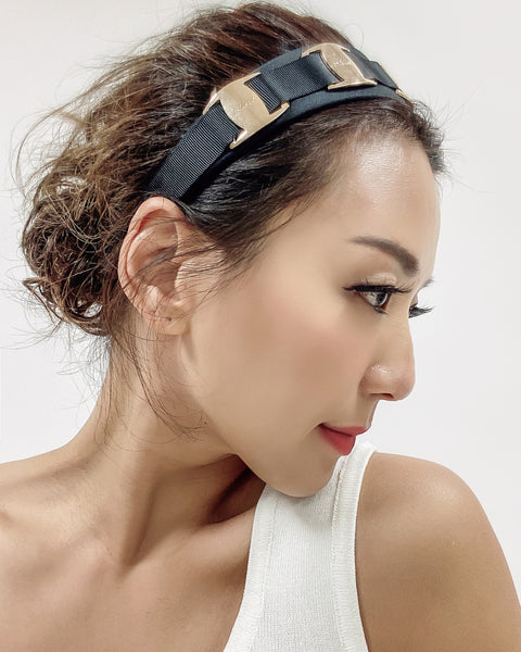 black fabric & gold metal headband
