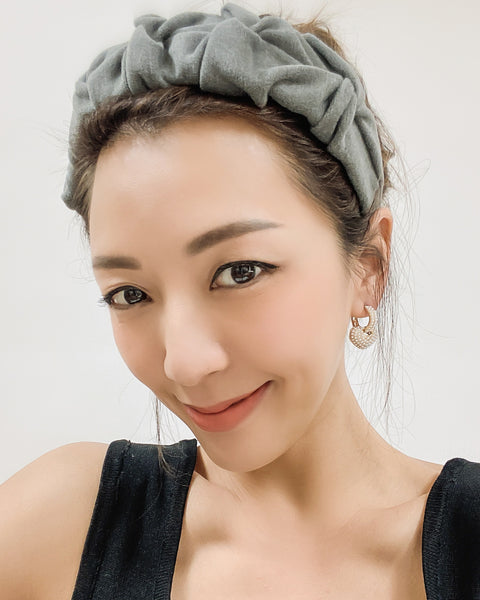 grey wool-blended ruched headband