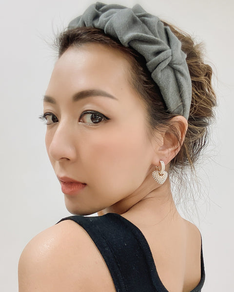 grey wool-blended ruched headband *pre-order*
