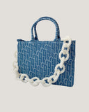 denim pattern medium tote bag with pearls chain *pre-order*