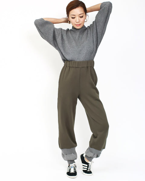 Army green with grey layers sweat high waist pants