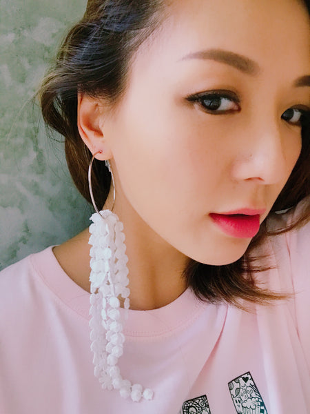 white fabric loop earring