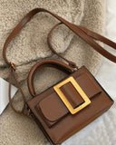 brown PU leather with gold buckle bag *pre-order*