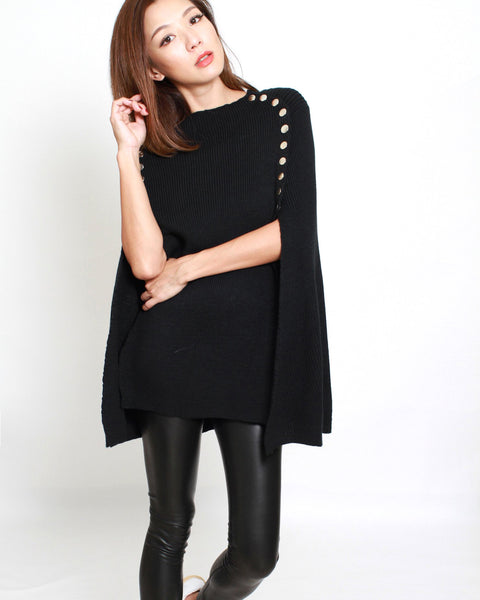black knitted buttons poncho *pre-order*
