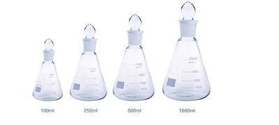 Borosilicate Conical Flask  Grounded Glass Stopper Sets Boro 3.3 Lab Glassware