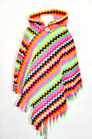 ZigZagMoo Fringed Hooded Children's Poncho with Button & Tab