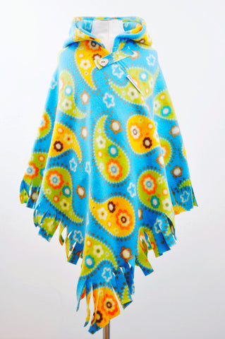 PaisleyMoo Print Fringed Hooded Children's Poncho with Button & Tab