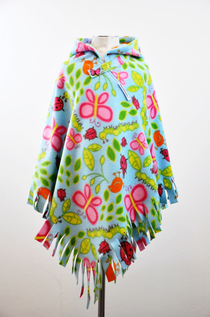 EarthMoo Fringed Hooded Children's Poncho with Button & Tab