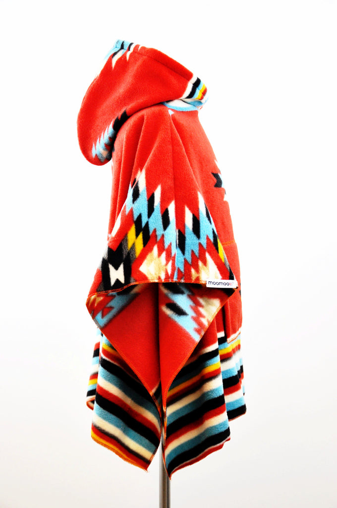 ApacheMoo Red Children's Poncho with Pocket & Hood