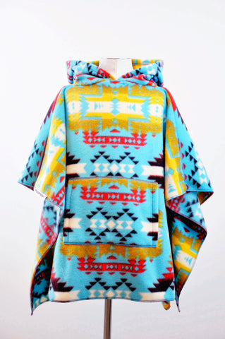 Turquoise CanyonMoo Children's Poncho with Pocket & Hood