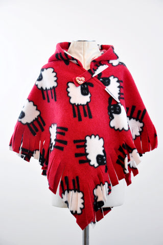 SheepieMoo Red Fringed Hooded Children's Poncho with Button & Tab