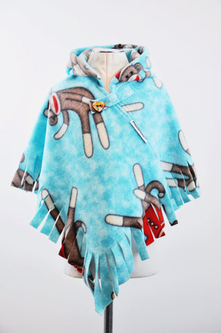 MonkeyMoo Fringed Hooded Children's Poncho with Button & Tab