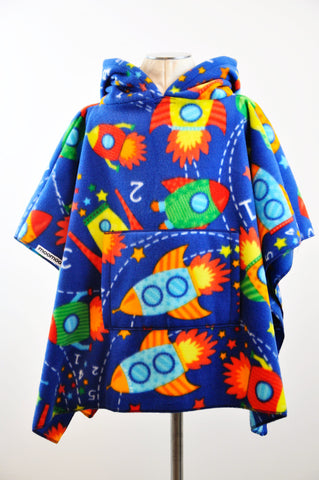 RocketMoo - Space Children's Poncho with Pocket & Hood