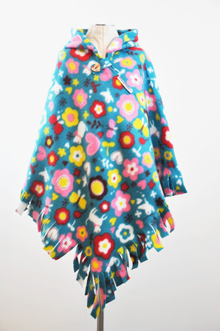 Cats & Mooflowers Fringed Hooded Children's Poncho with Button & Tab