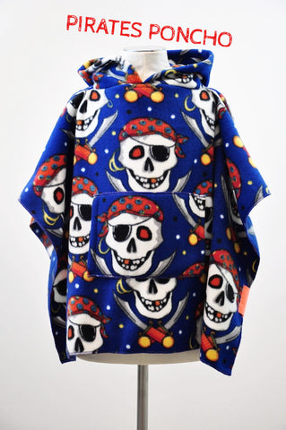 PIRATES Children's Poncho with pocket and hood