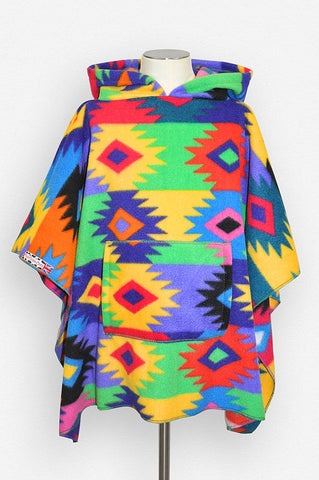 Southwest PuebloMoo Woven multi Children's Poncho with Pocket & Hood
