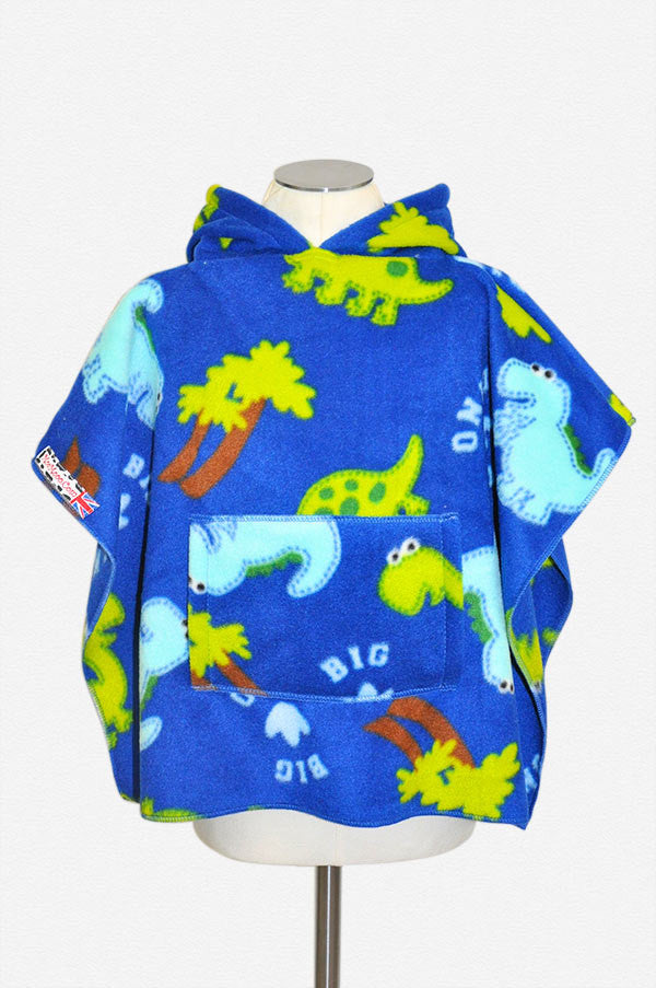 Big Dino Blue Poncho with Pocket & Hood Front