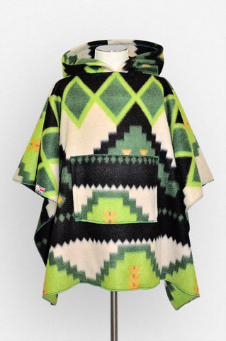 Abstract HunterMoo Green Minecraft Children's Poncho with Pocket & Hood