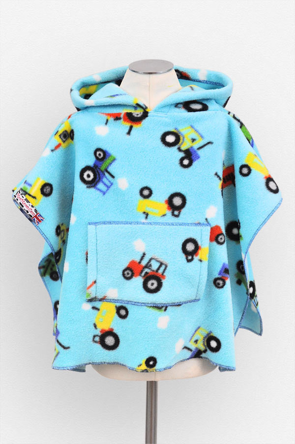 Tractors Polar Fleece Poncho with Pocket & Hood Front