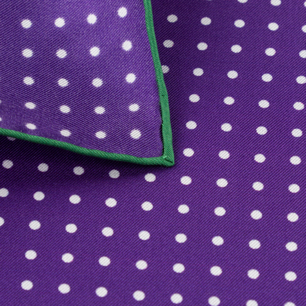 Purple & Green Shoestring Pocket Square