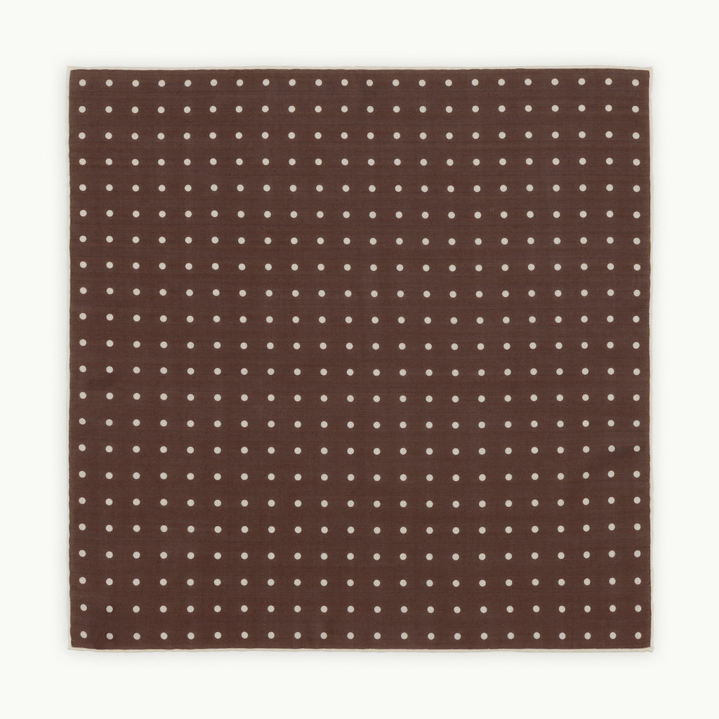 Brown with cream spot pocket square