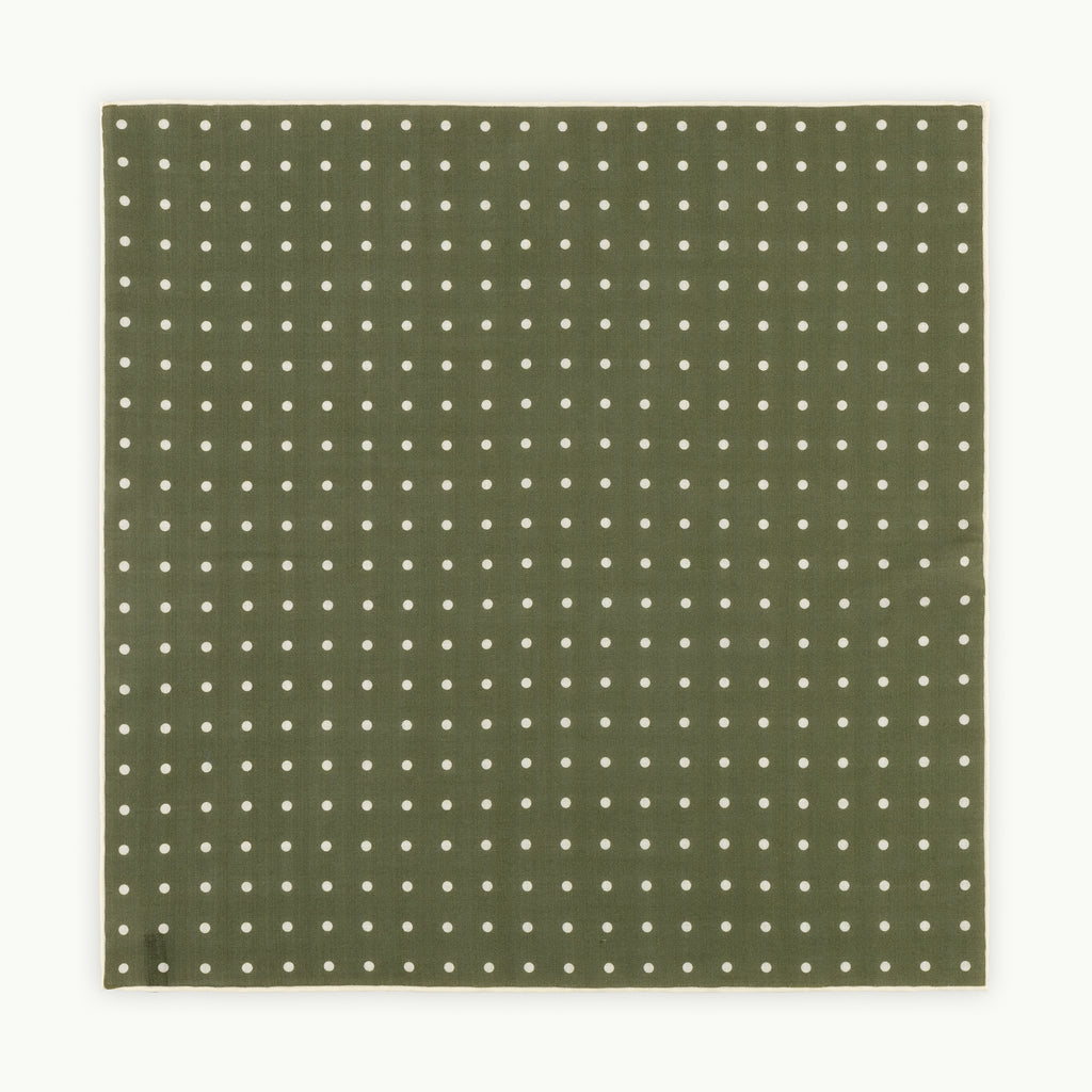 Olive & cream spot pocket square