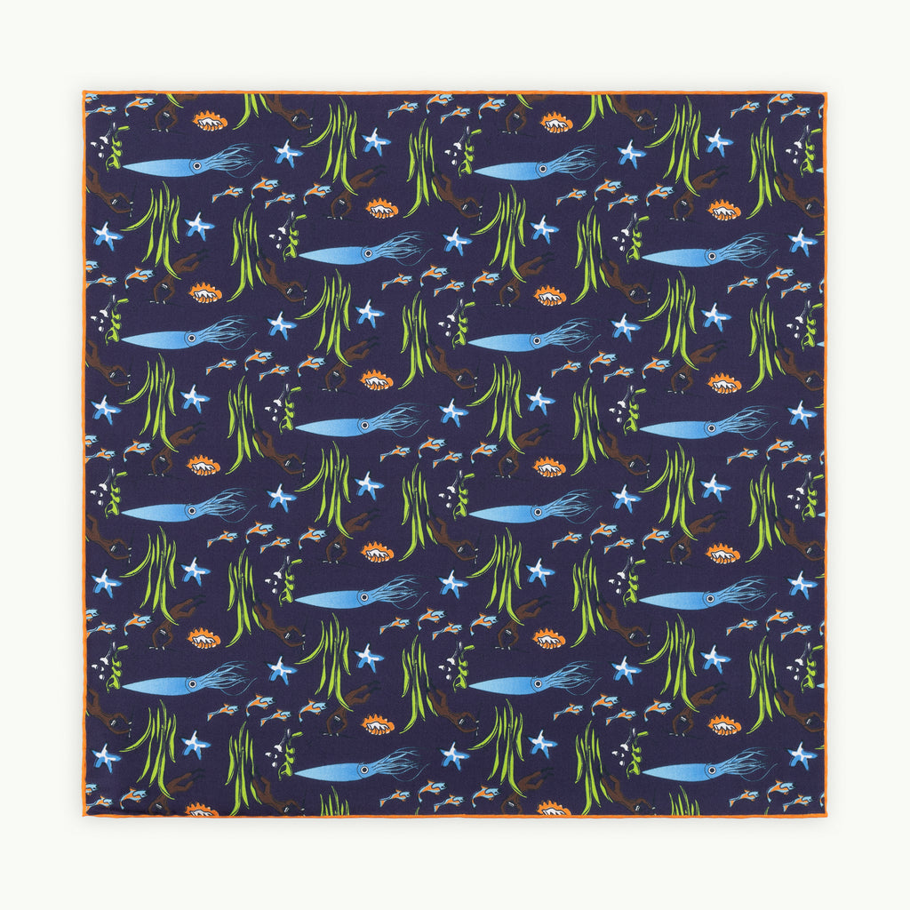 Navy & Orange Squid Silk Pocket Square