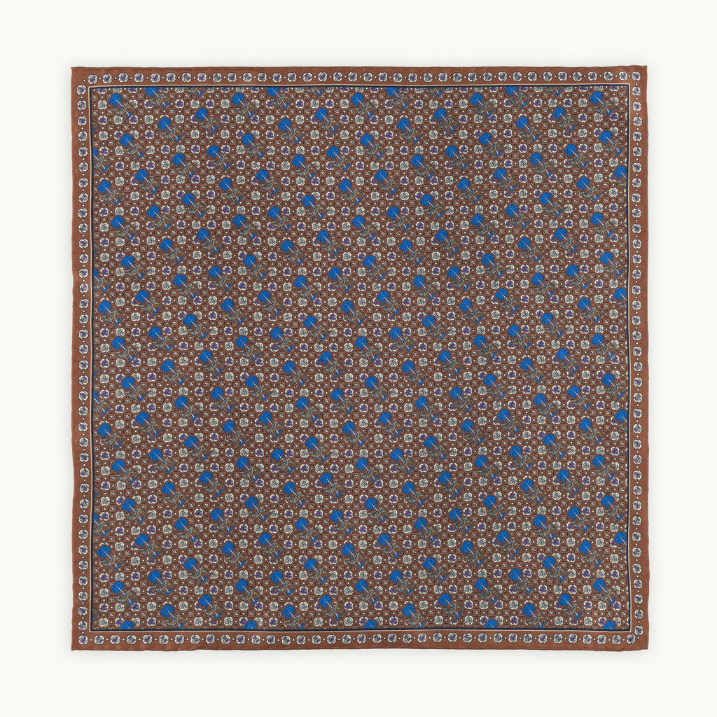 Brown Zebra Print Silk Pocket Square
